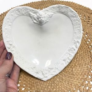 Vintage Made in Italy Cherub Heart Dish White